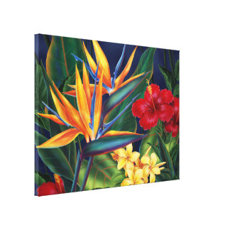 Tropical Paradise Hawaiian Large Wrapped Canvas