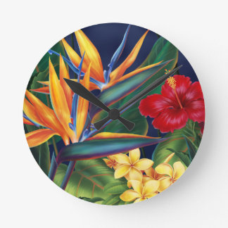 Tropical Paradise Hawaiian Wall Clocks