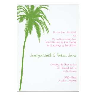 Tropical Paradise in Green and Pink Wedding Invite