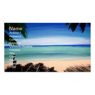 Tropical paradise ocean view business card art