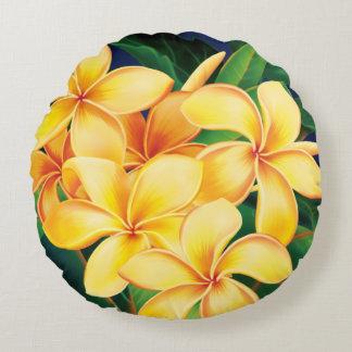 Tropical Paradise Plumeria Hawaiian Round Cushion