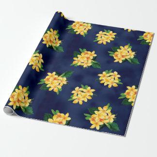 Tropical Paradise Plumeria Hawaiian Wrapping Paper