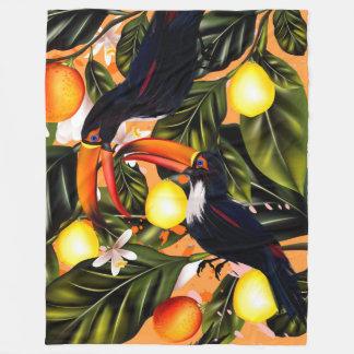 Tropical paradise. Toucans and citrus Fleece Blanket