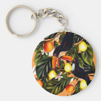 Tropical paradise. Toucans and citrus Key Ring