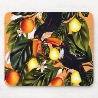 Tropical paradise. Toucans and citrus Mouse Pad