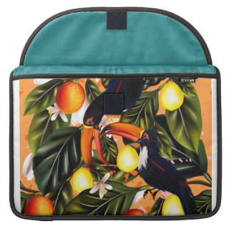 Tropical paradise.Toucans and citrus Sleeve For MacBook Pro
