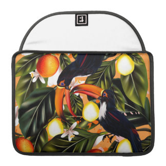 Tropical paradise. Toucans and citrus Sleeve For MacBooks