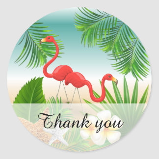 Tropical Paradise with Flamingos Classic Round Sticker