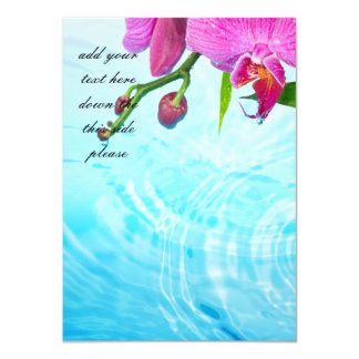 tropical paradise,zen,peace,orchid,blue water,yoga 11 cm x 16 cm invitation card