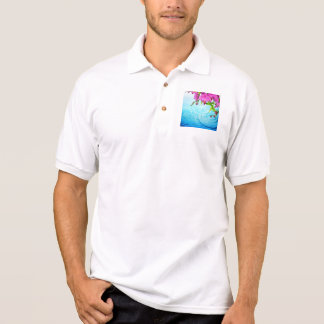 tropical paradise,zen,peace,orchid,blue water,yoga polo shirt