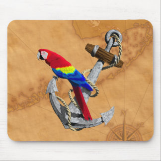 Tropical Parrot And Anchor Mousepads