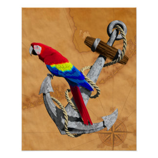 Tropical Parrot And Anchor Posters
