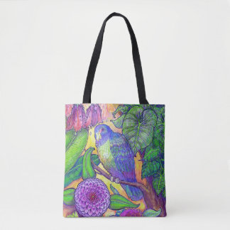 Tropical Parrot and Floral Tote Bag