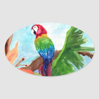 Tropical Parrot-Ice Oval Sticker