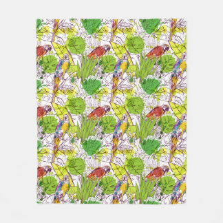 Tropical Parrots Fleece Blanket