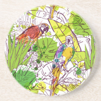 Tropical Parrots Sandstone Coaster