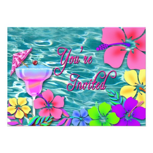 Tropical Party Invitation - Water/Flowers/Drink Personalized Announcements