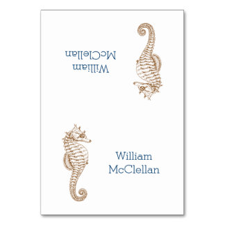 Tropical Party Seahorse Tented Place Cards
