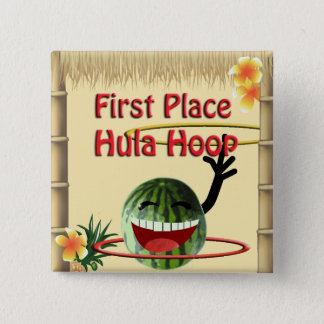 Tropical Party Tiki Hut  1st Place Hula Hoop 15 Cm Square Badge