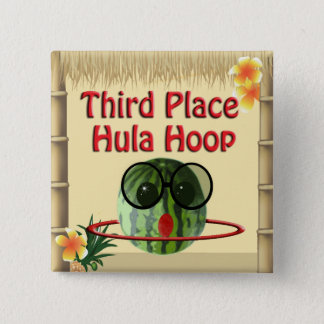 Tropical Party Tiki Hut  3rd Place Hula Hoop 15 Cm Square Badge