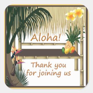 Tropical Party Tiki Hut Aloha Favor Sticker