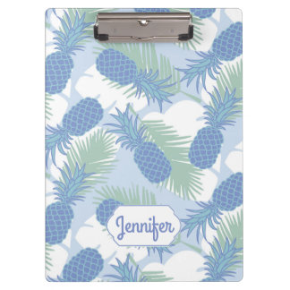 Tropical Pastel Pineapple Pattern | Add Your Name Clipboards