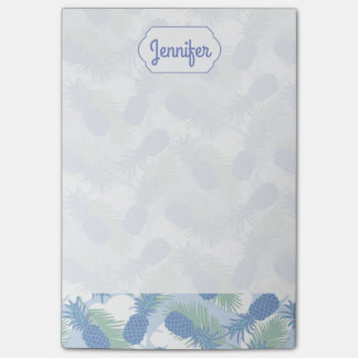 Tropical Pastel Pineapple Pattern   Add Your Name Post-it® Notes