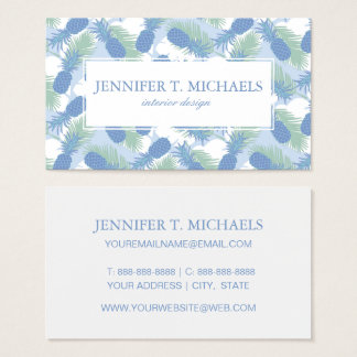 Tropical Pastel Pineapple Pattern Business Card