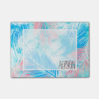 Tropical pastel pink blue watercolor palm tree post-it notes
