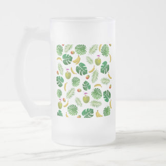Tropical pattern frosted glass beer mug