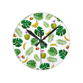 Tropical pattern round clock