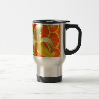TROPICAL PEELED BANANA & JUICY ORANGE SLICES TRAVEL MUG