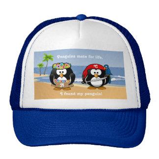 Tropical Penguins Couple Hula Pirate Island Beach Hat