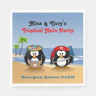 Tropical Penguins Couple Hula Pirate Island Beach Paper Napkin