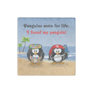Tropical Penguins Couple Hula Pirate Island Beach Stone Magnet