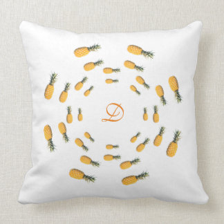 tropical personalized initial monogram - pineapple throw pillow