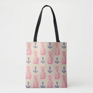 Tropical Pineapple & Anchor Vintage Tote Bag