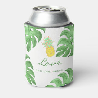 Tropical pineapple beach editable color wedding can cooler