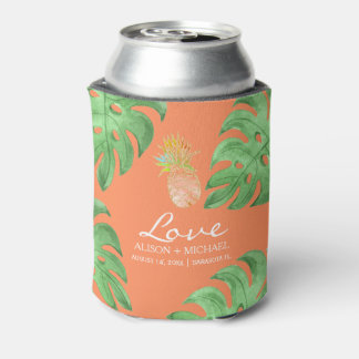 Tropical pineapple beach green peachy pink wedding can cooler