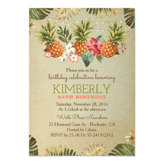 tropical pineapple beach lights birthday party 13 cm x 18 cm invitation card