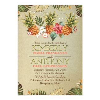 tropical pineapple beach lights wedding 13 cm x 18 cm invitation card