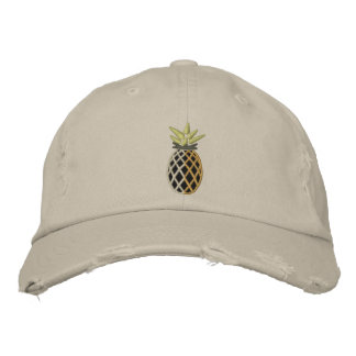Tropical Pineapple Embroidery Graphic on Embroidered Hat