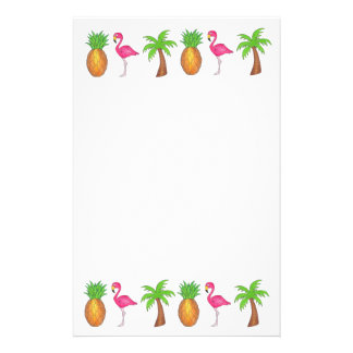 Tropical Pineapple Flamingo Palm Tree Stationery