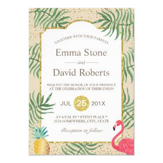 Tropical Pineapple & Flamingo Summer Beach Wedding Card