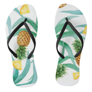 Tropical, pineapple flipflops thongs