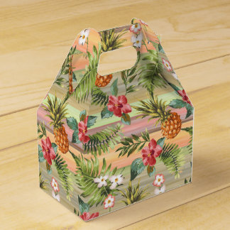 Tropical Pineapple Fruit Floral Stripes Pattern Favour Box