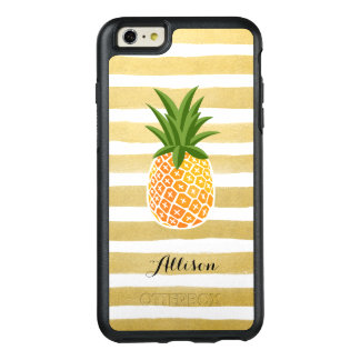 Tropical Pineapple Gold Stripes Monogram Name OtterBox iPhone 6/6s Plus Case