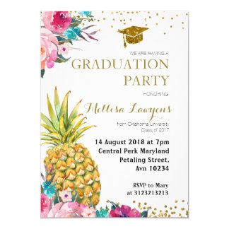 Tropical Pineapple Graduation Party Invitation