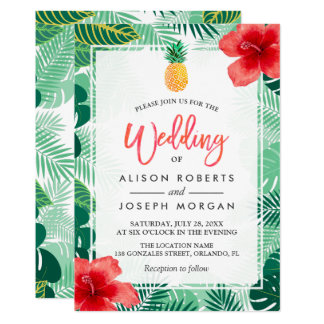 Tropical Pineapple Hawaiian Hibiscus Wedding 13 Cm X 18 Cm Invitation Card