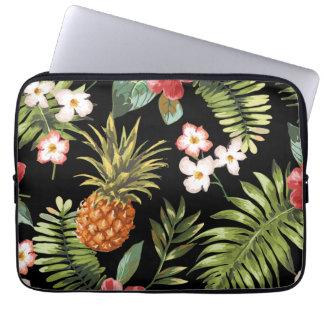 Tropical Pineapple Hibiscus Flowers Laptop Sleeve